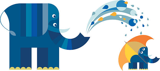 ilustraciones, imágenes clip art, dibujos animados e iconos de stock de elefante ducharse su hijo de madre - tintanegra00