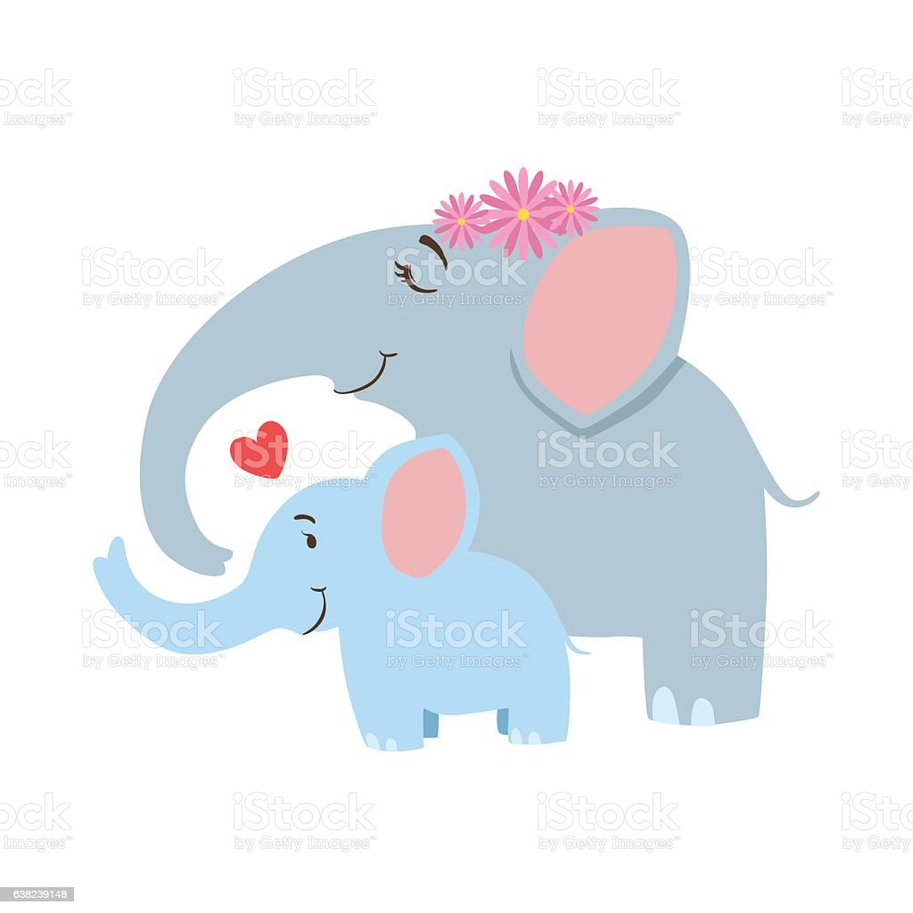 Elephant Mom With Frower Wreath Animal Parent And vector art illustration