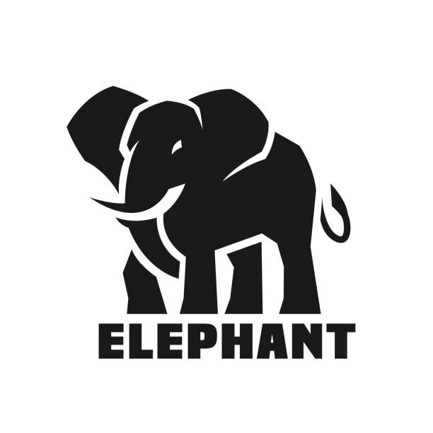 Elephant. Monochrome icon. Big Elephant Monochrome icon, symbol. Vector illustration elephant stock illustrations