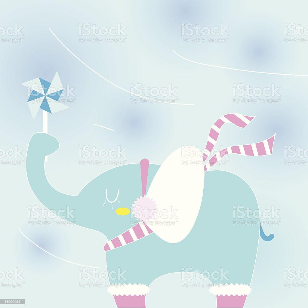 Elephant on a cold day royalty-free stock vector art