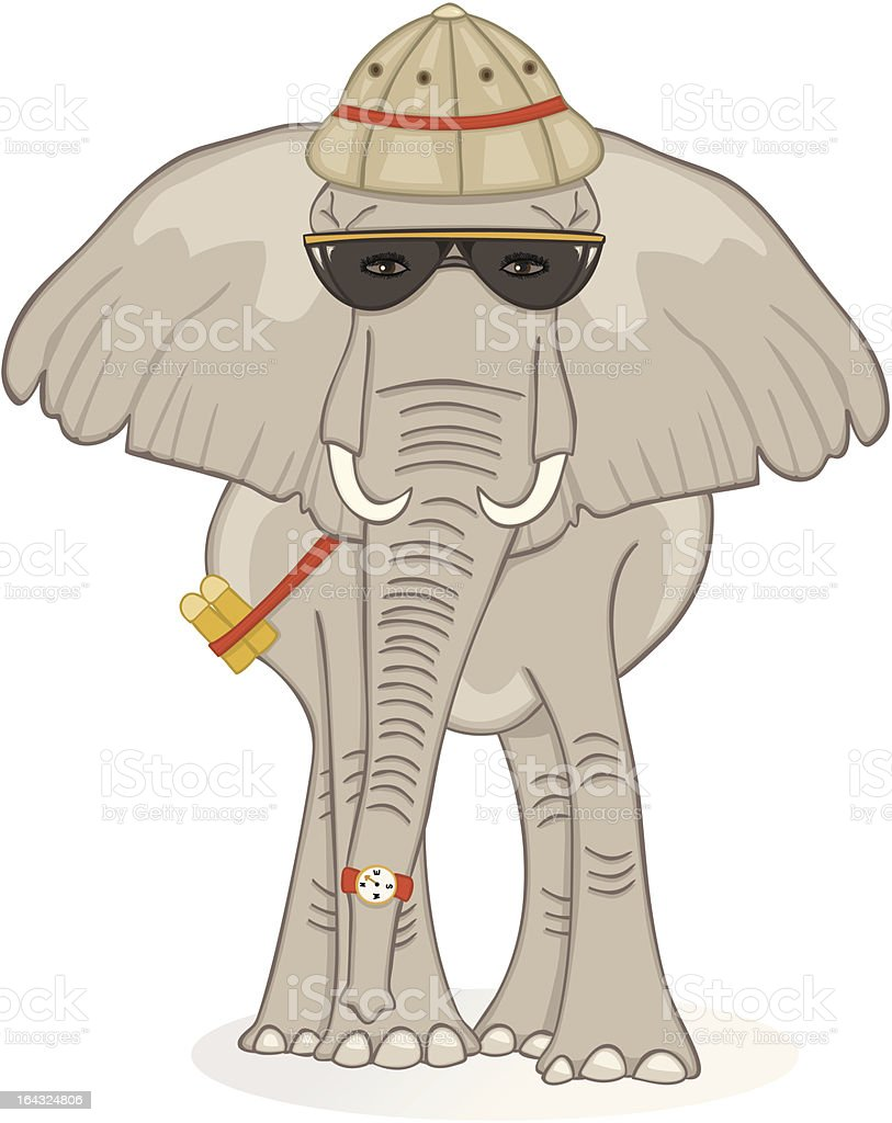 Elephant on Safari royalty-free stock vector art