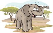 Vector Illustration of a happy elephant on the Savannah. File saved on layers for easy editing.
