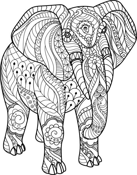 Coloring Book Page Design Vector Art Elephant On White Background Illustration