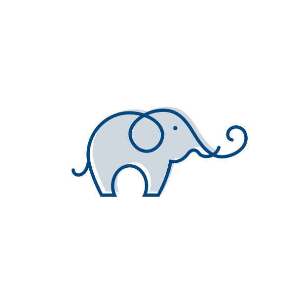 elephant outline logo, simple vector illustration of the elephant. elegant one line lucky elephant for children ur business usage. outlined baby elephant, wildlife or zoo - elephant stock illustrations