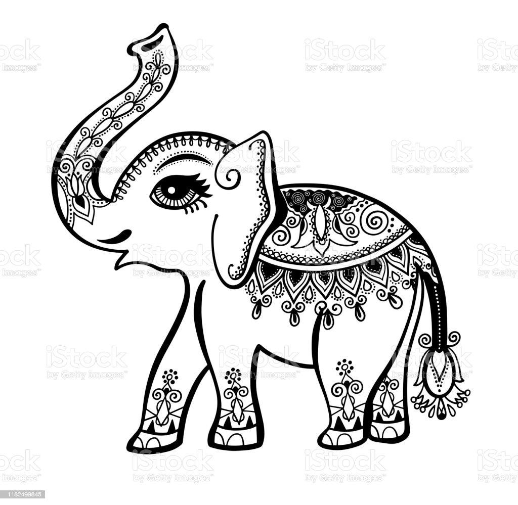 Elefant Bemalt Stammesornament Indische Vintage Grafik Ethnischen ...