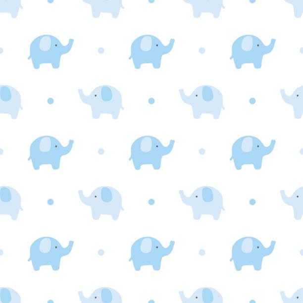 Elephant pattern Elephant cute seamless pattern, Cartoon elephant background, vector illustration baby boys stock illustrations