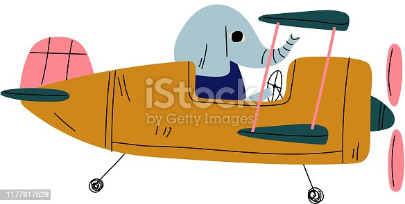 Elephant Pilot Flying on Retro Plane in the Sky, Cute Animal Character Piloting Airplane Vector Illustration on White Background.