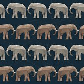 Elephant seamless pattern background isolated on black. Abstract polygonal illustration
