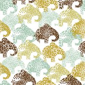 Elephant seamless pattern in retro-floral style.