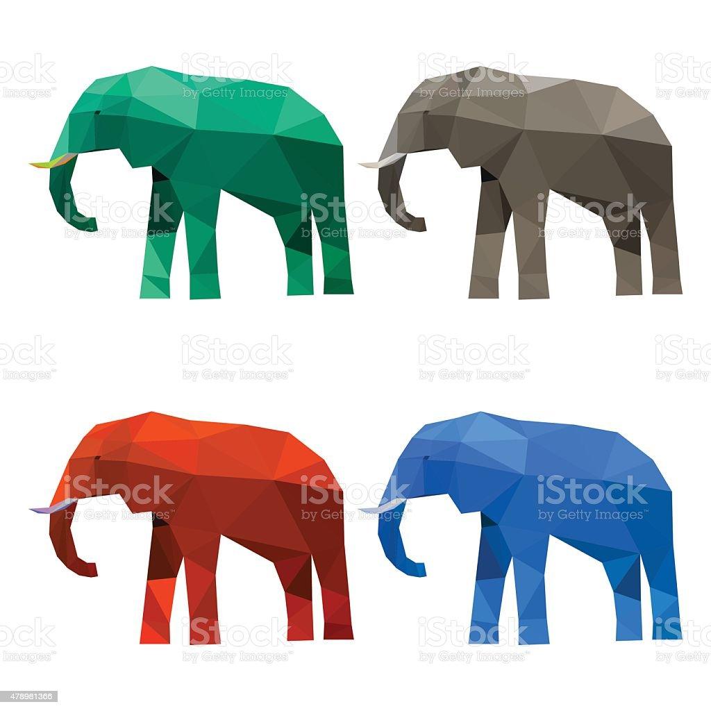 Elephant set isolated on white background. Abstract polygonal geometric illustration vector art illustration