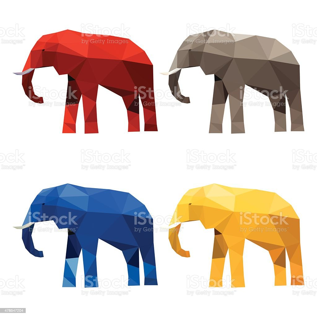 Elephant set painted in imaginary colors isolated on white background vector art illustration