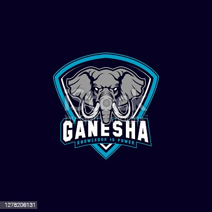 editable vector illustration of an elephant shield mascot icon with aggressive expression.