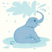 Cute cartoon illustration of a blue baby elephant in profile happily sitting in a puddle. He is looking overhead as he showers and sprays his back with water. This vector is easily edited and has no gradients or transparencies. It is also layered with a full sitting elephant without the puddle.