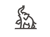 Elephant sign template, linear style. Vector format.