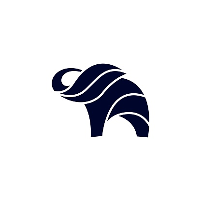 Elephant Silhouette Design Concept Illustration Vector Template
