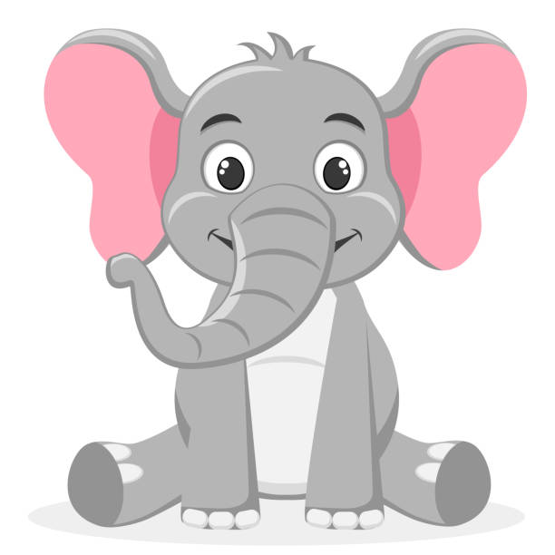 Elephant sitting and smiling on a white. Character. Elephant sitting and smiling on a white background. Character. elephant stock illustrations