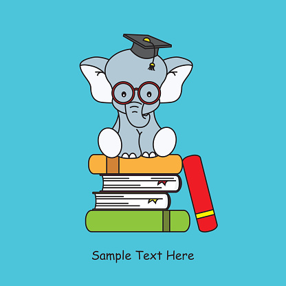 elephant sitting on top of books graduation cap