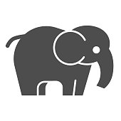 Elephant solid icon. Standing safari animal simple silhouette. Animals vector design concept, glyph style pictogram on white background, use for web and app. Eps 10