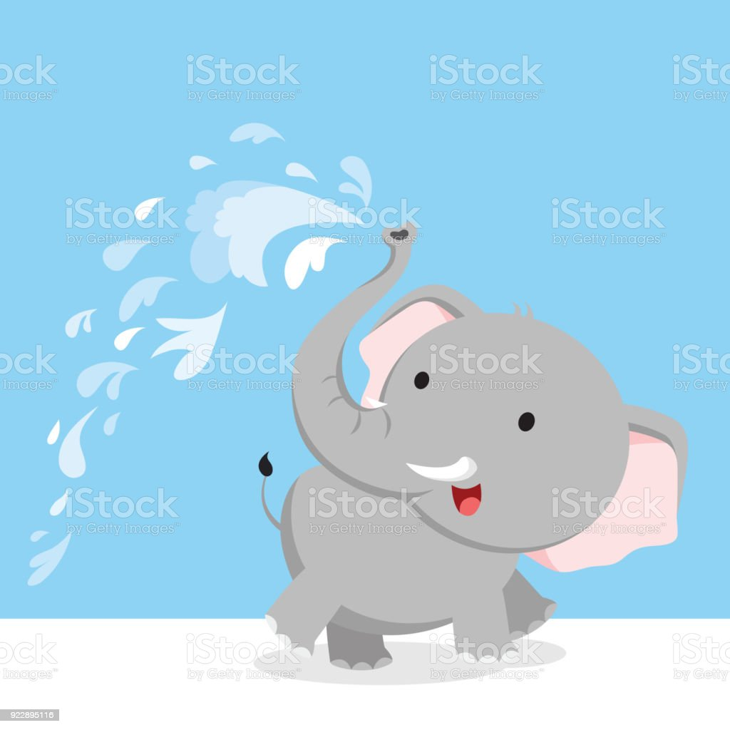 Elephant spray water with trunk vector art illustration