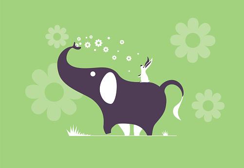 elephant spraying flowers with rabbit