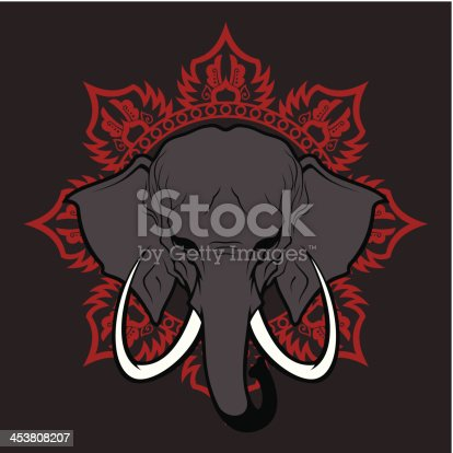Elephant stylized head with the traditional pattern. There is three separate layers. High resolution PNG file is also added (without gray background).
