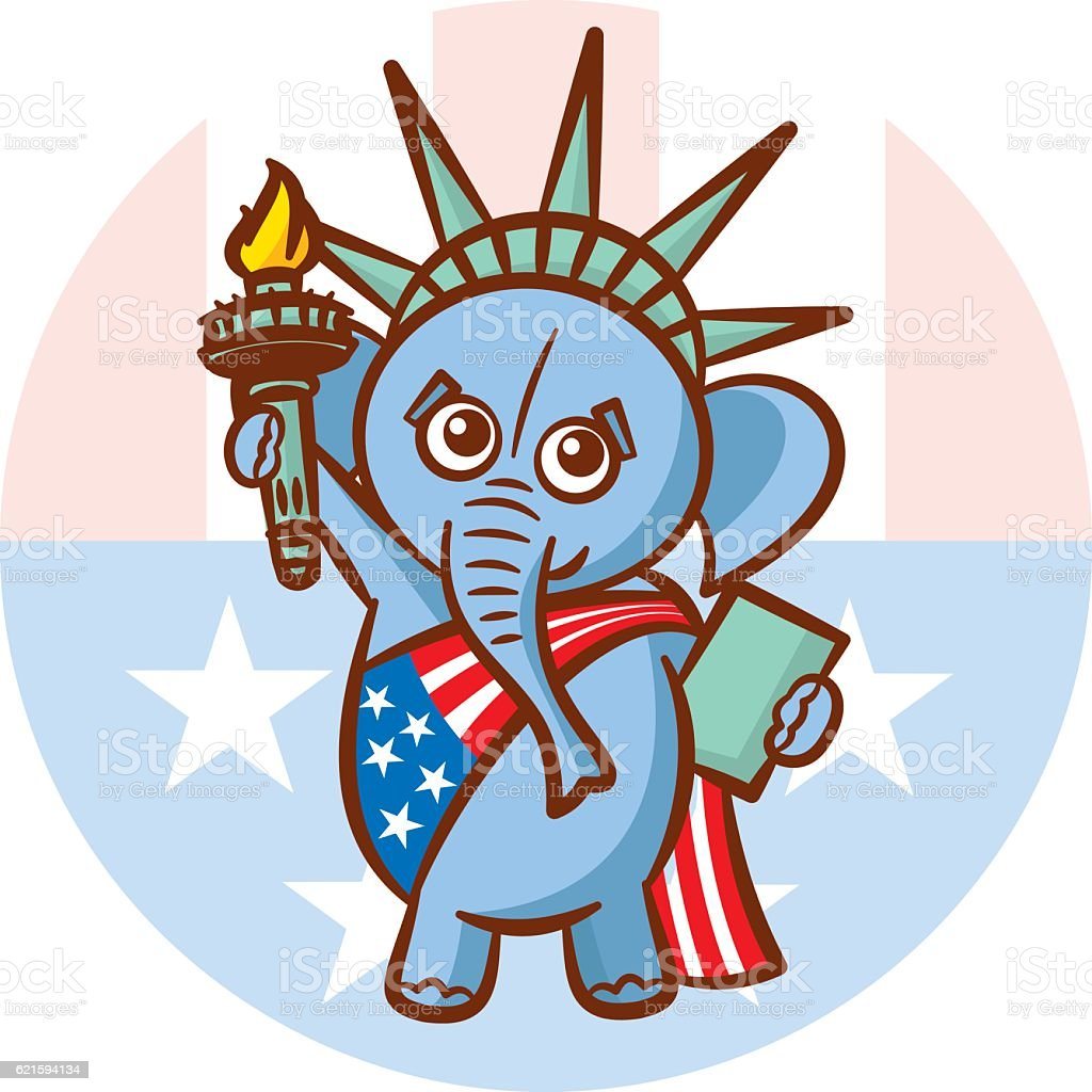 Elephant Symbols Of Republicans Political Parties Usa Statue Liberty