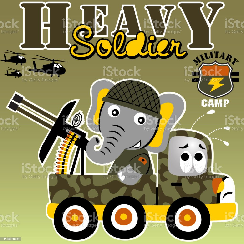 elephant the heavy soldier with anti air craft gun, kids t shirt...