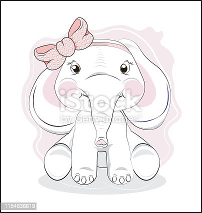 the lovely drawn baby elephant calf wiht the pink bow, Happy birthday card