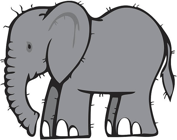 Royalty Free Cartoon Of The Elephant Side View Clip Art ...