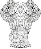 Elephant Vector illustration. Hand drawn design elements