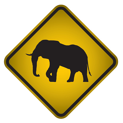 Elephant Warning Sign- Vector