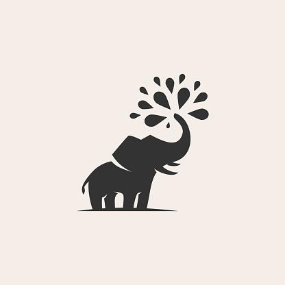 elephant water sonkran hipster vintage vector icon illustration