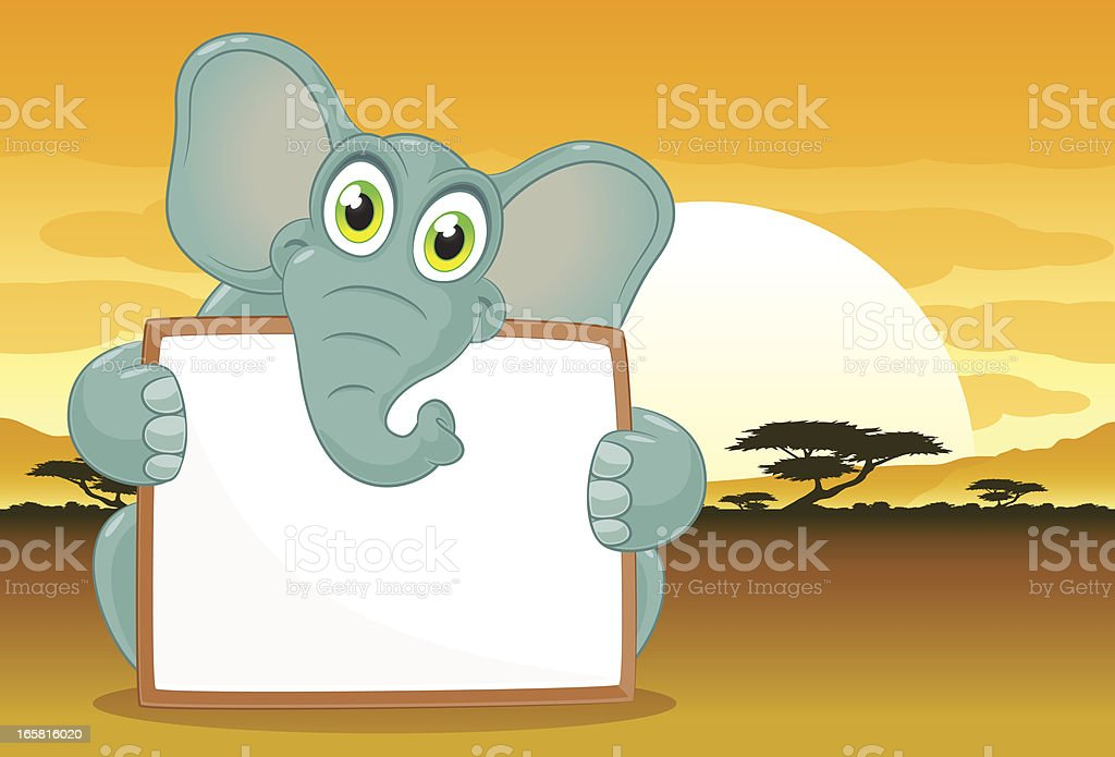Elephant with a blank sign vector art illustration