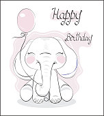 the lovely drawn baby elephant calf, blindly, with balloon, Happy birthday card
