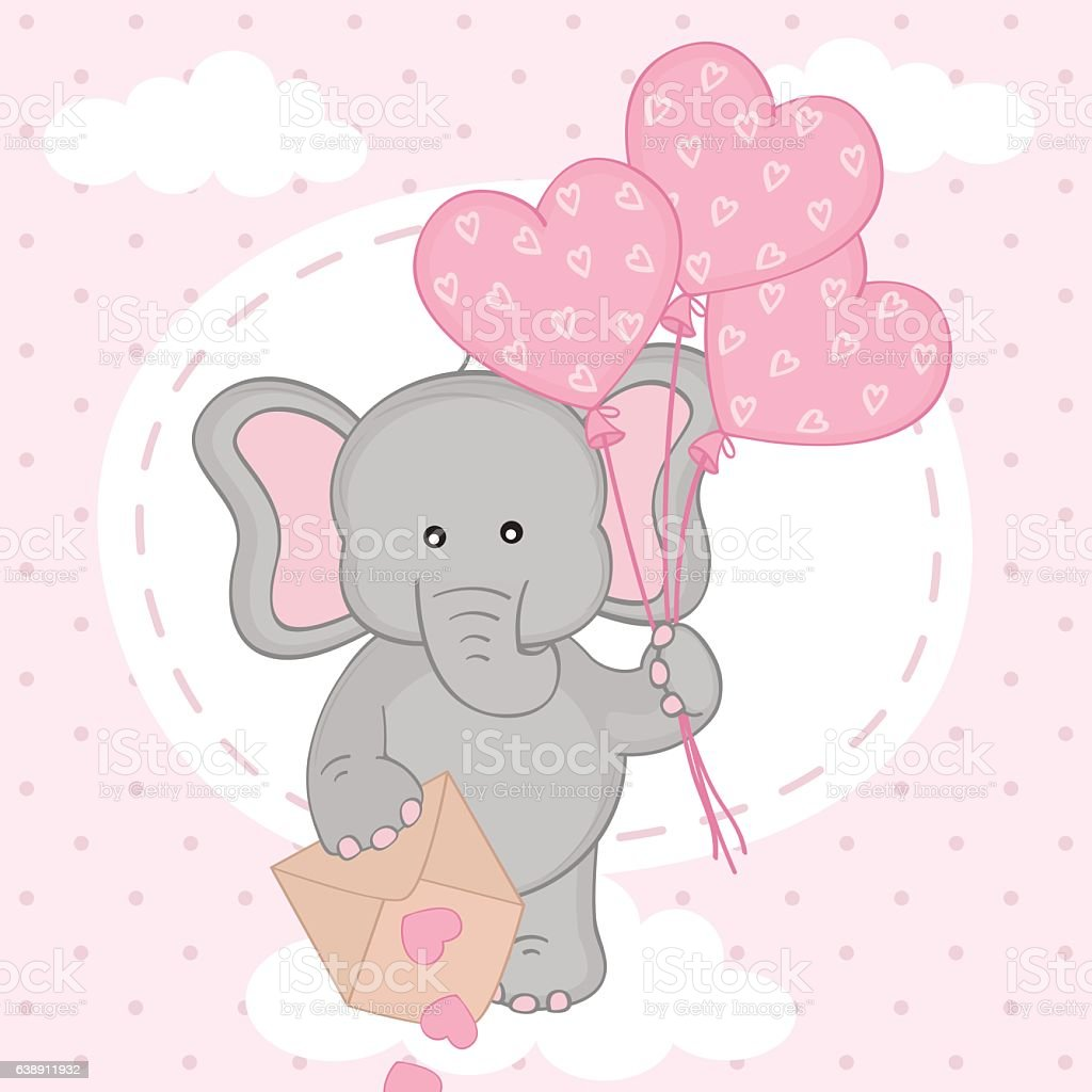 Elephant With Balloons On Cloud Stock Illustration ...