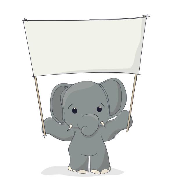 Royalty Free Cute Elephant Cartoon Holding Blank Sign Clip ...