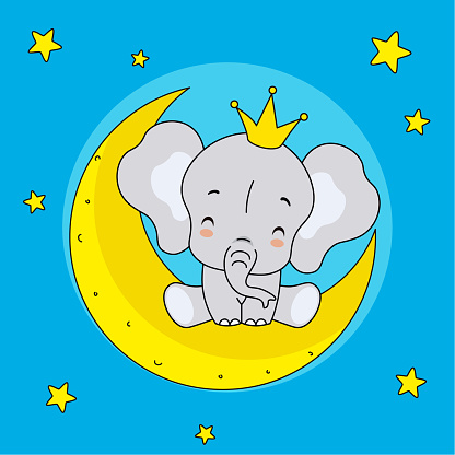 Elephant with crown sitting on the moon