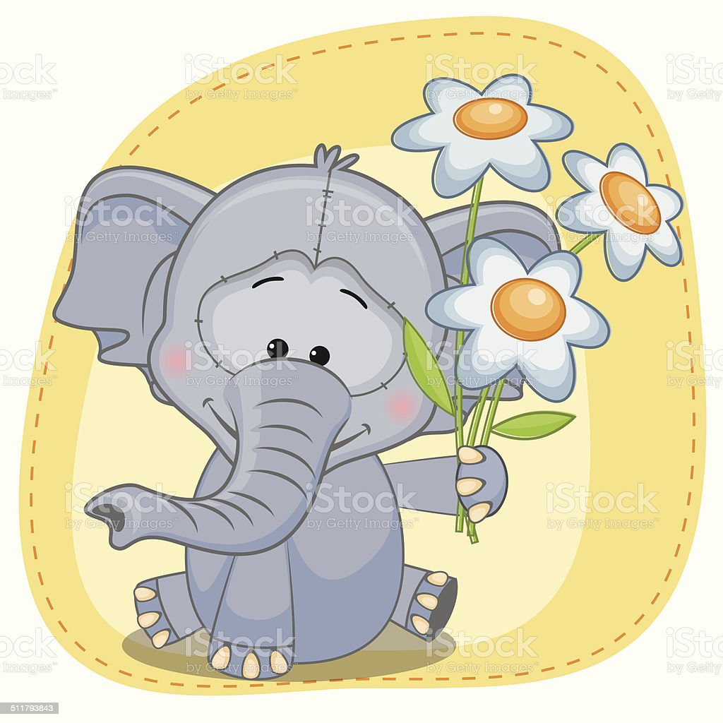 Elefant Mit Blumen Stock Vektor Art und mehr Bilder von Baby ...