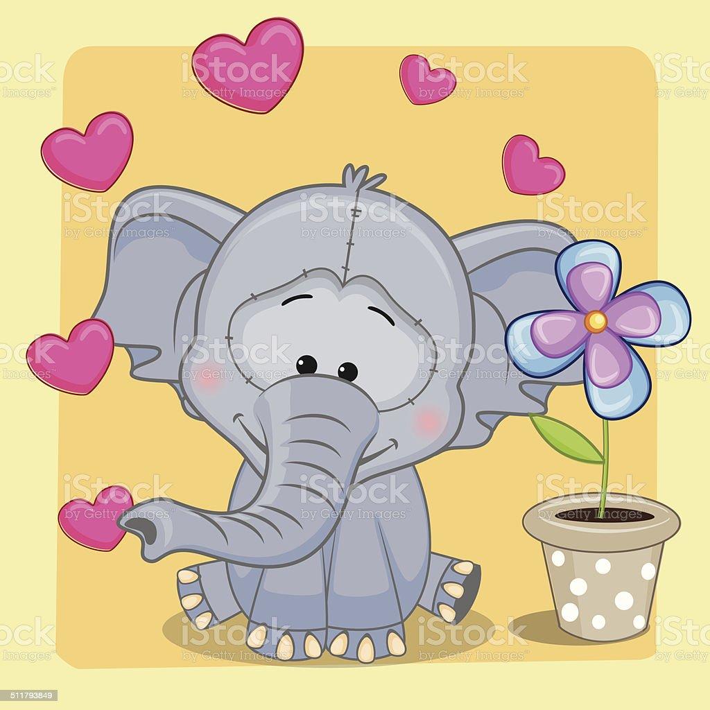 Elefant Mit Herzen Und Blumen Stock Vektor Art und mehr Bilder von ...