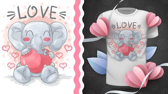 Elephant with heart - idea for print t-shir