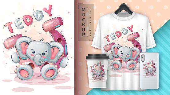 Elephant with horseshoe - cute cartoon animal character