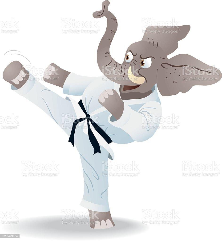 Elephant With Karate Black Belt Costume - ilustração de arte em vetor