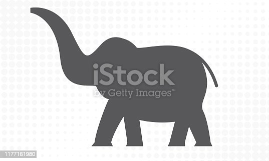 Elephant with side view. Flat and solid color vector illustration.