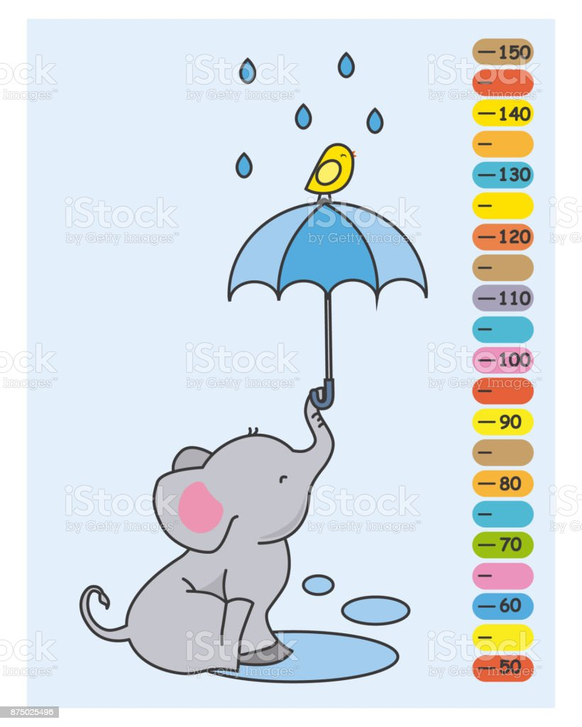 Ilustración de Elefante Con Paraguas Bajo La Lluvia y más banco de ...