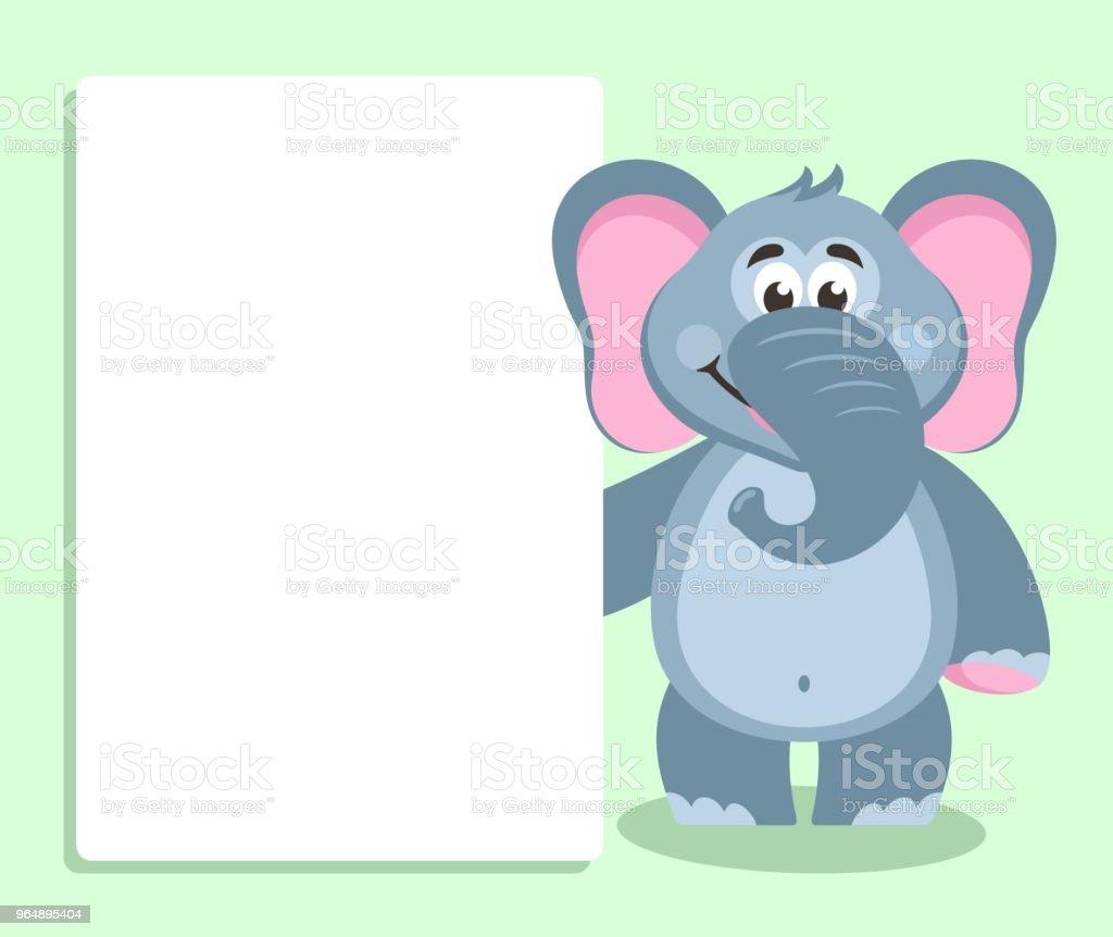 大象與白板。 - 免版稅剪貼畫圖庫向量圖形