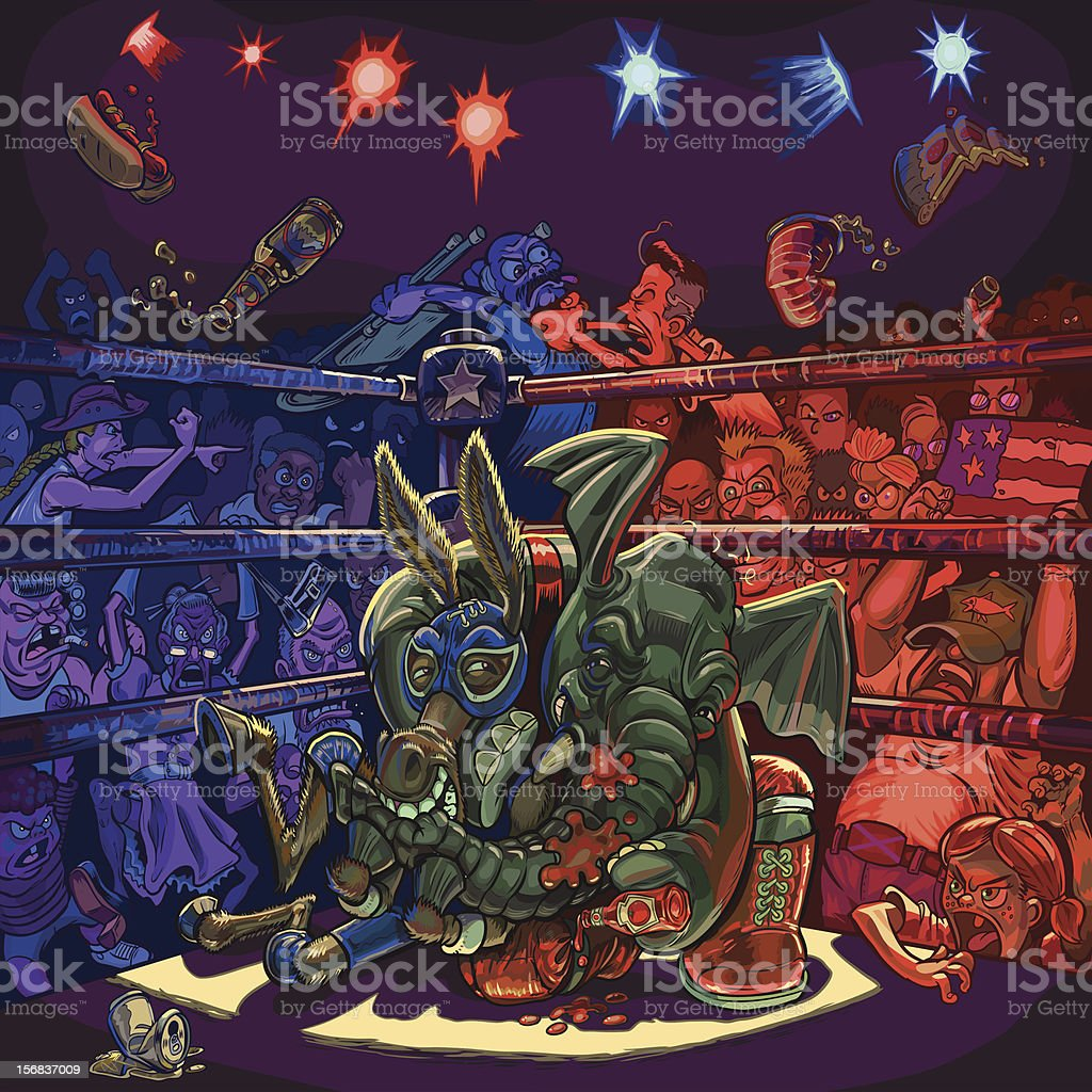 Elephant Wrestles Donkey in Front of Angry Crowd vector art illustration
