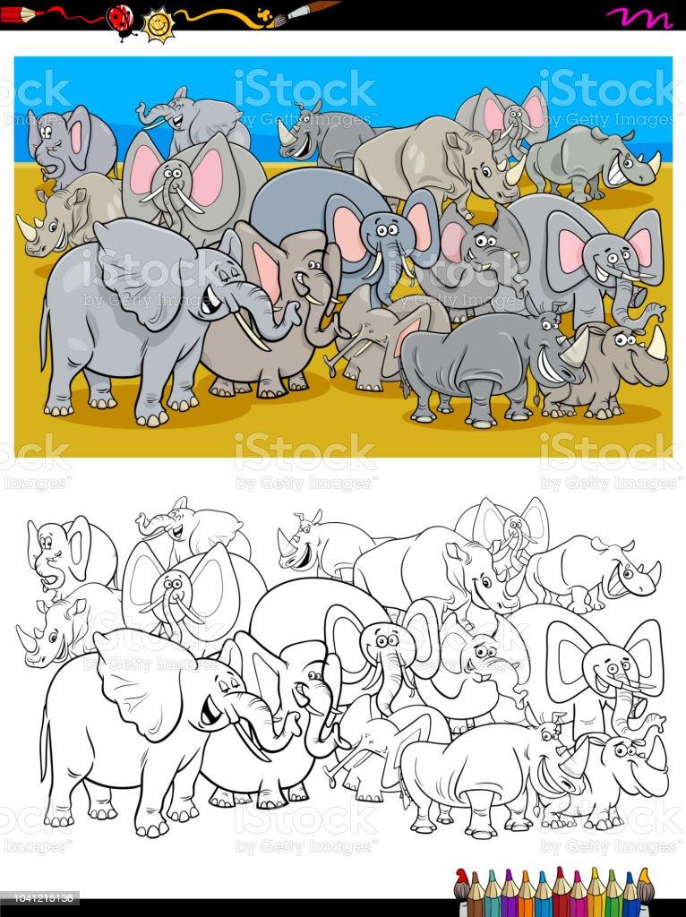 Ilustración de Personajes De Elefantes Y Rinocerontes Para Colorear ...