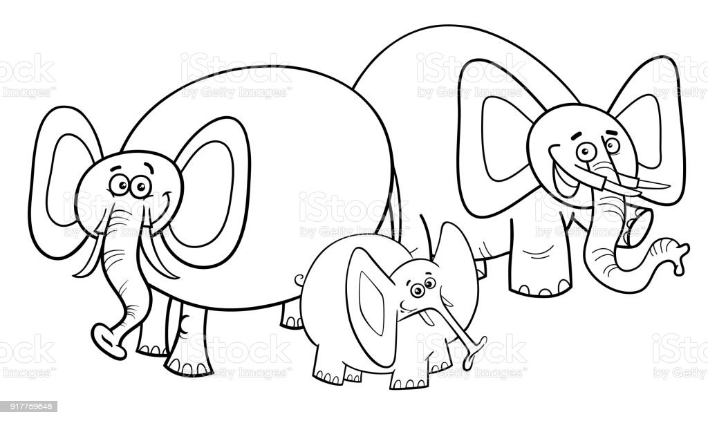 Elephants Cartoon Character Group Coloring Book Stock Vector Art ...