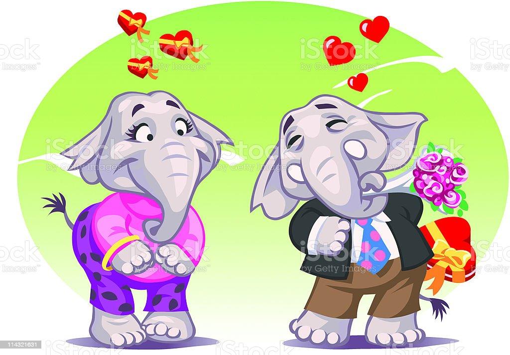 Elephants in Love royalty-free stock vector art
