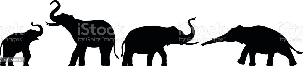Elephants vector art illustration